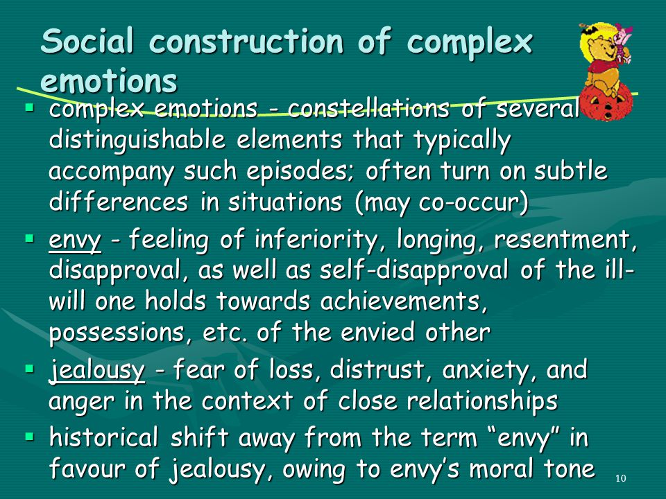 Social construction of complex emotions