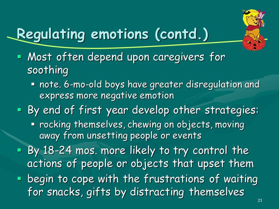 Regulating emotions (contd.)