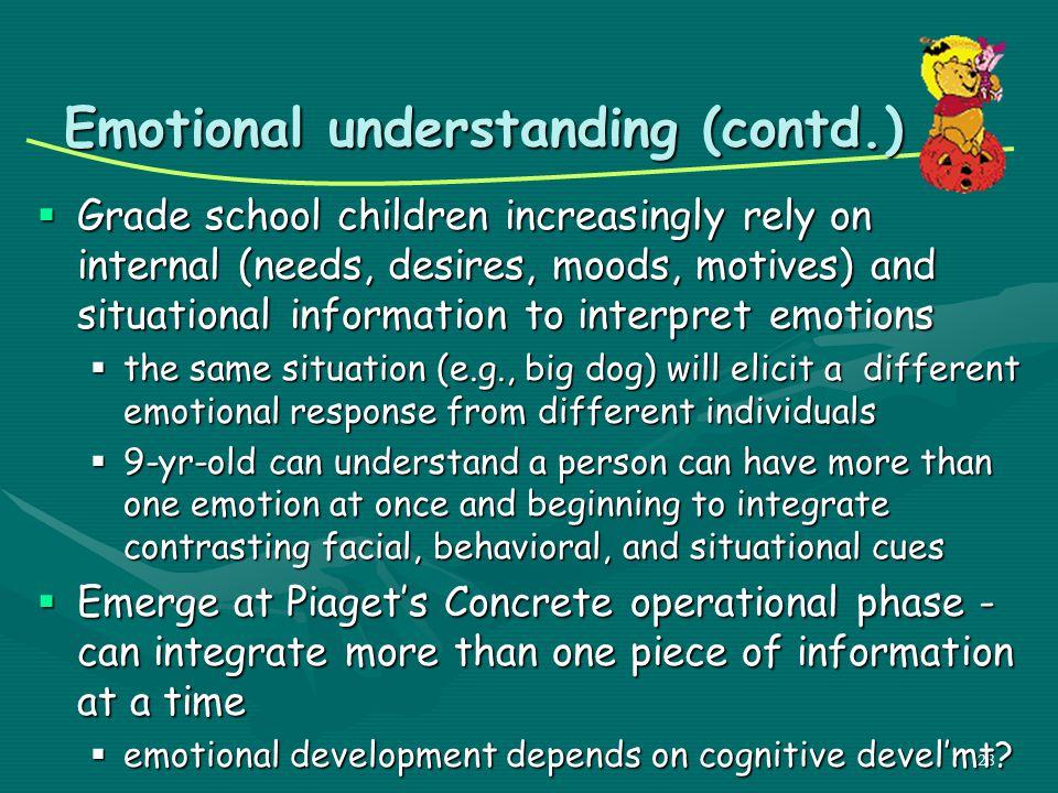 Emotional understanding (contd.)