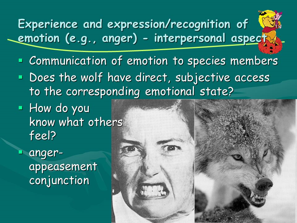 Experience and expression/recognition of emotion (e. g
