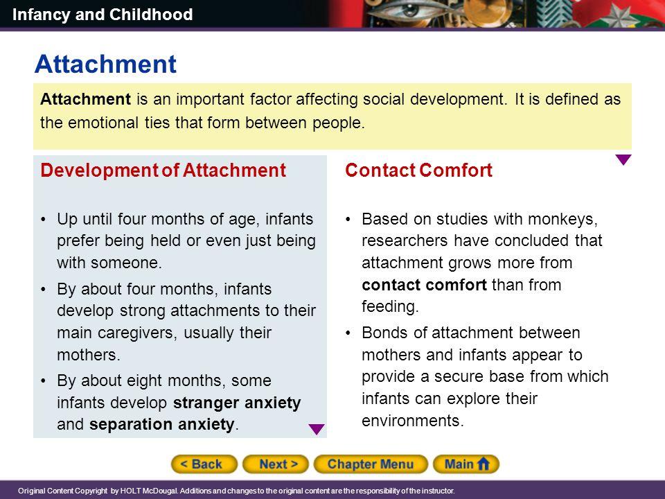 Attachment Development of Attachment Contact Comfort