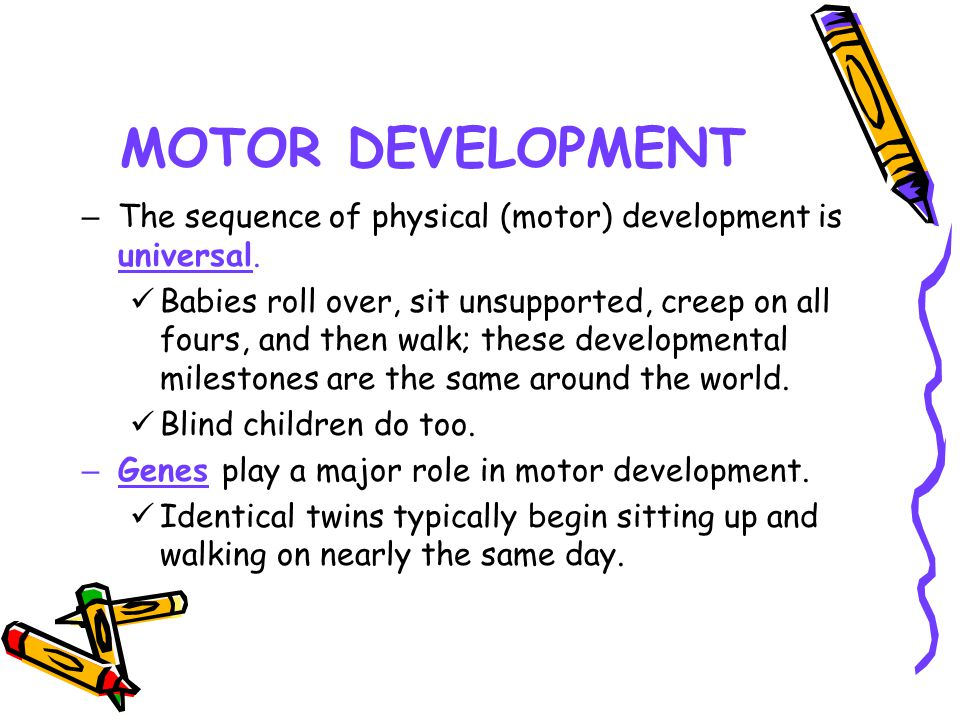 MOTOR DEVELOPMENT The sequence of physical (motor) development is universal.