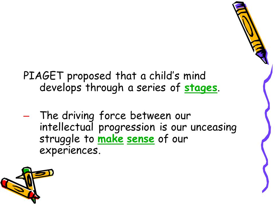 PIAGET proposed that a child's mind develops through a series of stages.