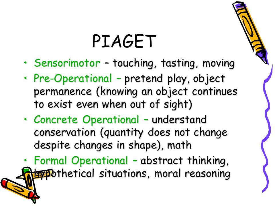 PIAGET Sensorimotor – touching, tasting, moving