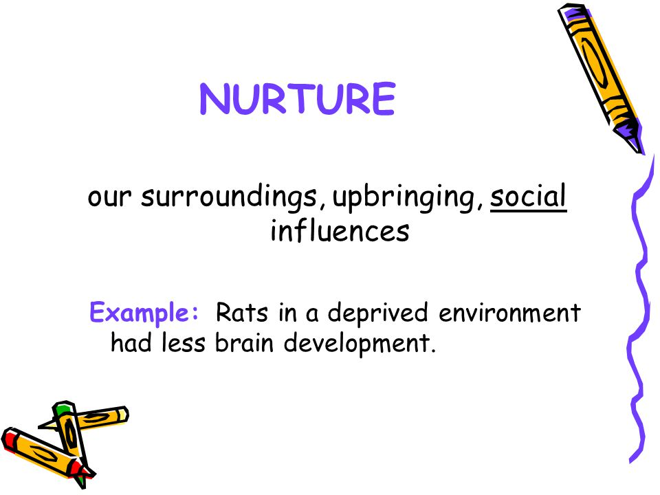 our surroundings, upbringing, social influences