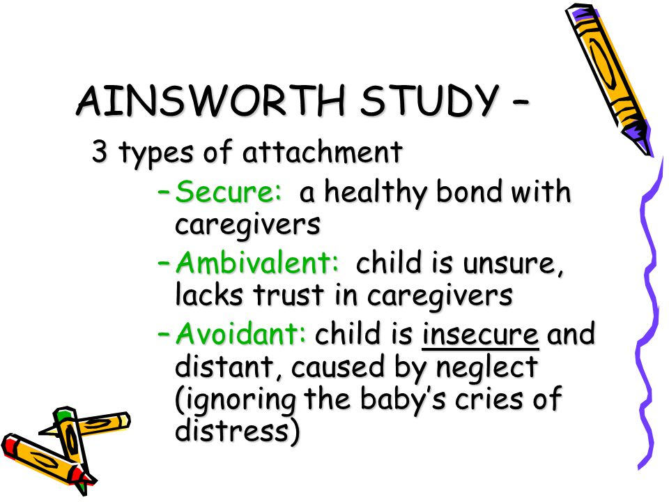 AINSWORTH STUDY – 3 types of attachment