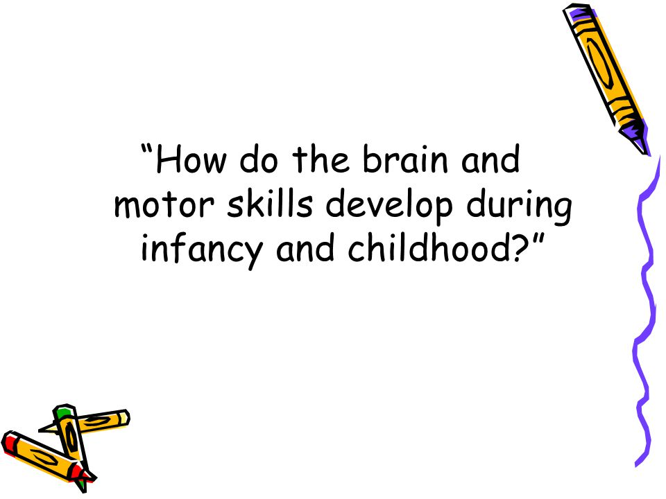 How do the brain and motor skills develop during infancy and childhood