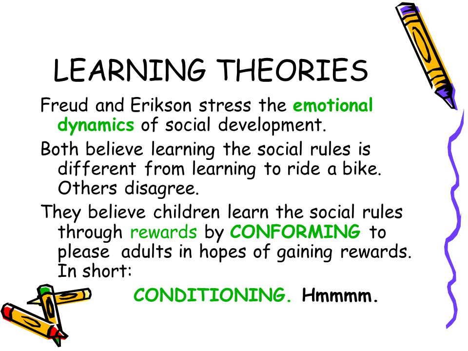 LEARNING THEORIES Freud and Erikson stress the emotional dynamics of social development.