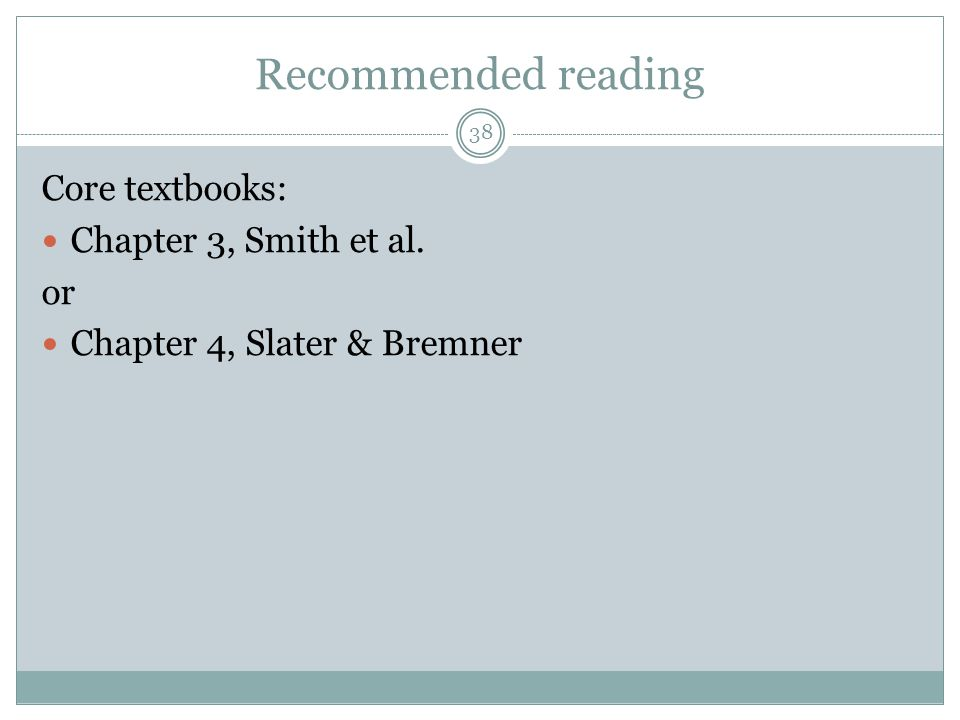 Recommended reading Core textbooks: Chapter 3, Smith et al. or