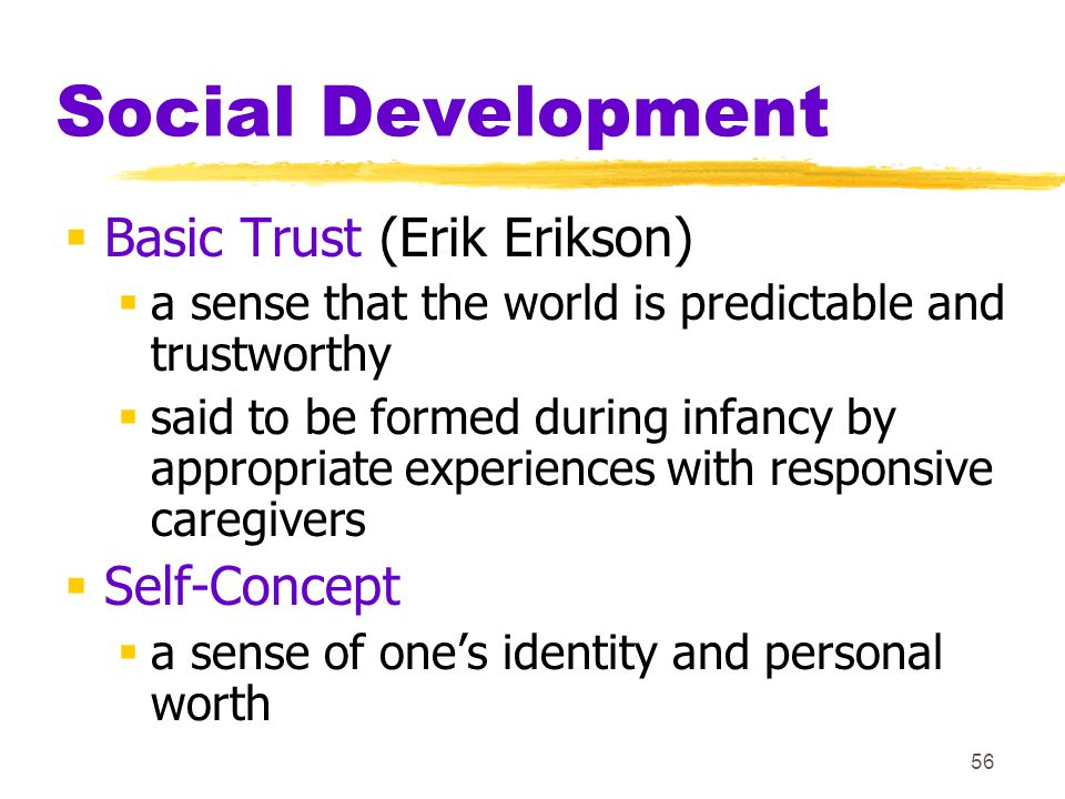 Social Development Basic Trust (Erik Erikson) Self-Concept