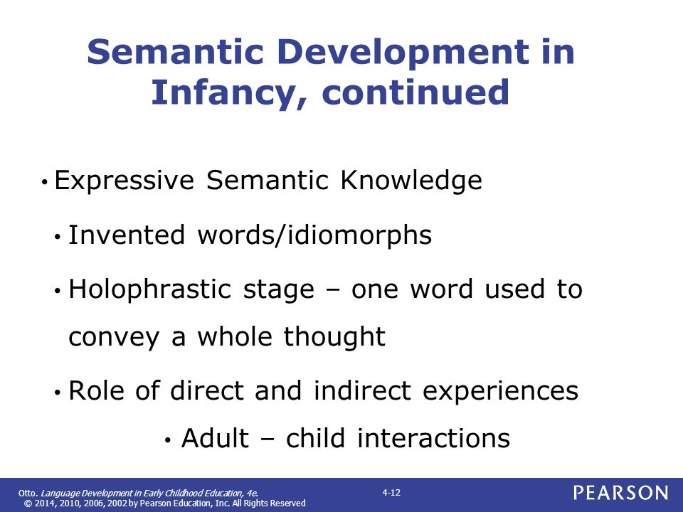 Semantic Development in Infancy, continued