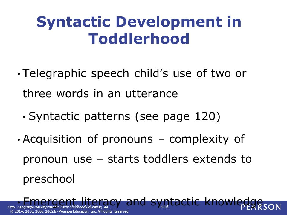 Syntactic Development in Toddlerhood