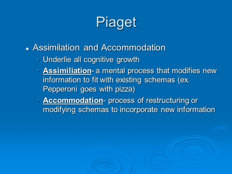 Piaget Assimilation and Accommodation Underlie all cognitive growth
