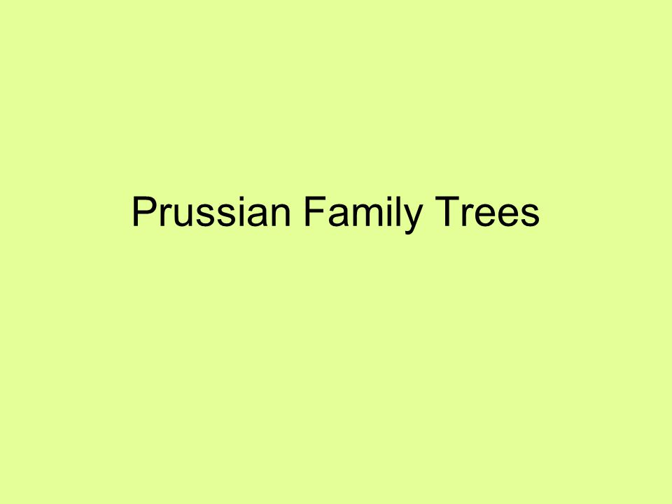 Prussian Family Trees
