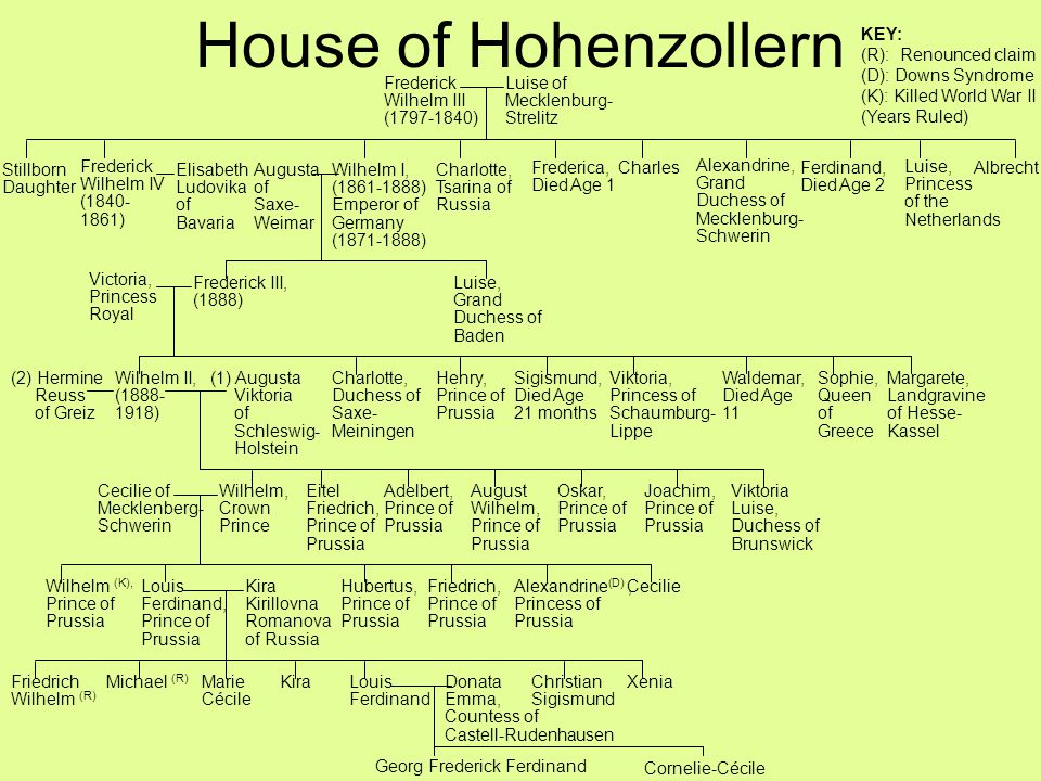 House of Hohenzollern KEY: (R): Renounced claim (D): Downs Syndrome