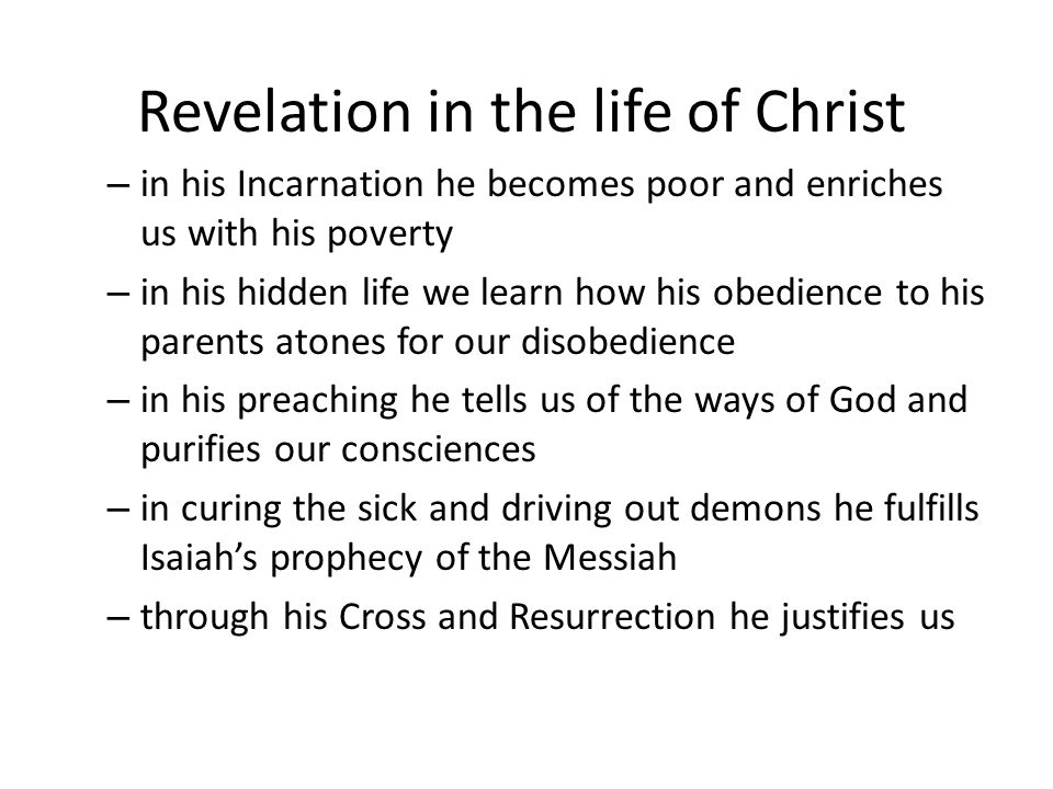 Revelation in the life of Christ
