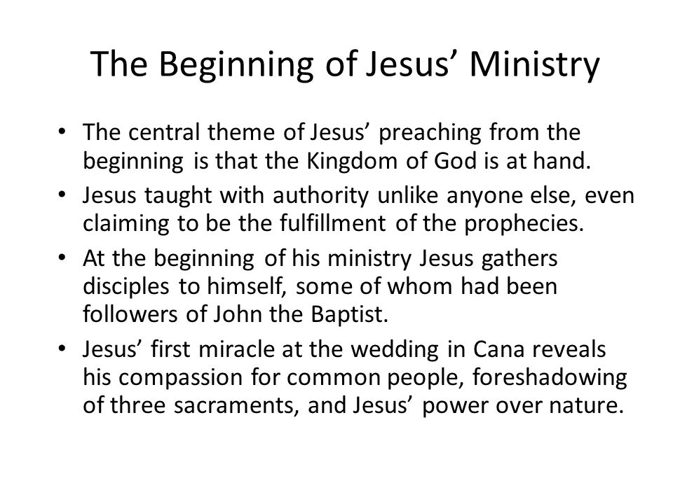 The Beginning of Jesus' Ministry