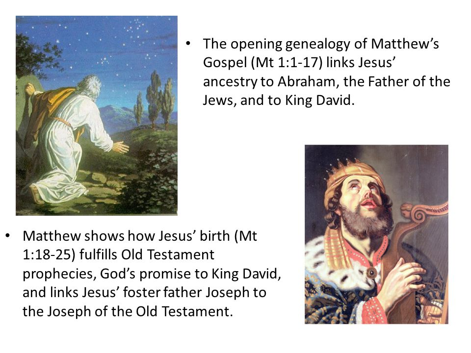 The opening genealogy of Matthew's Gospel (Mt 1:1-17) links Jesus' ancestry to Abraham, the Father of the Jews, and to King David.