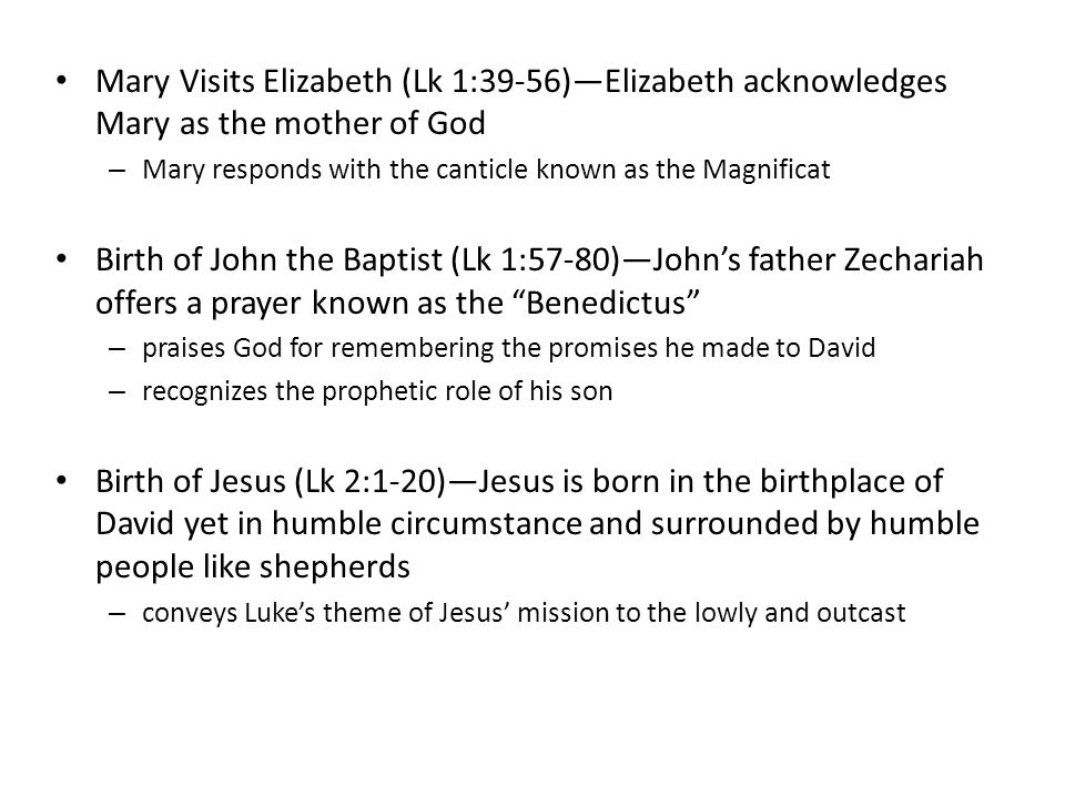 Mary Visits Elizabeth (Lk 1:39-56)—Elizabeth acknowledges Mary as the mother of God