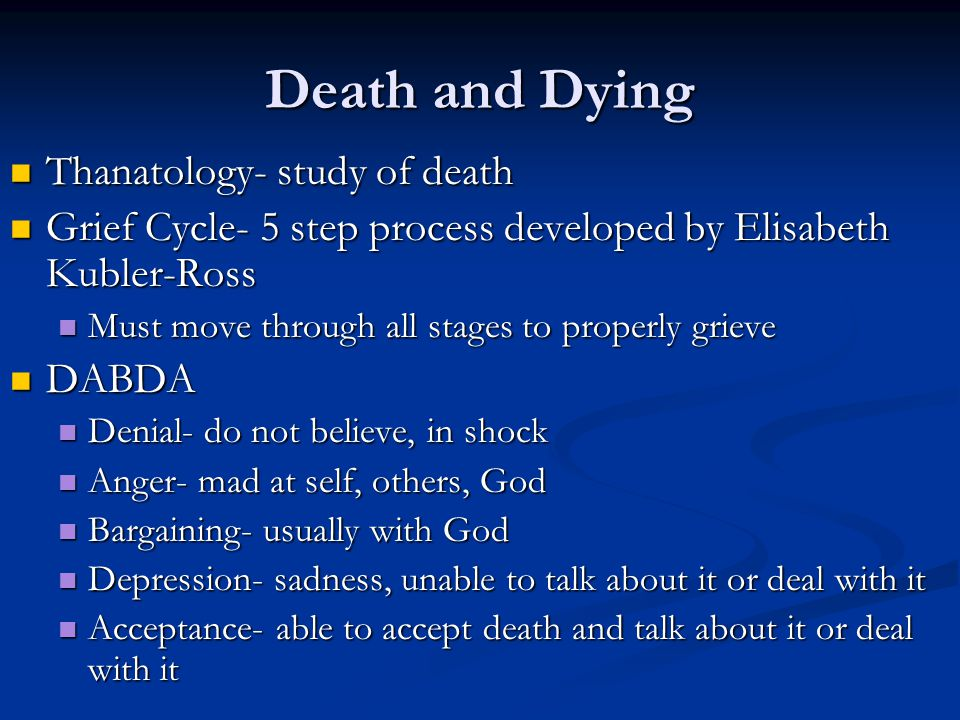 Death and Dying Thanatology- study of death