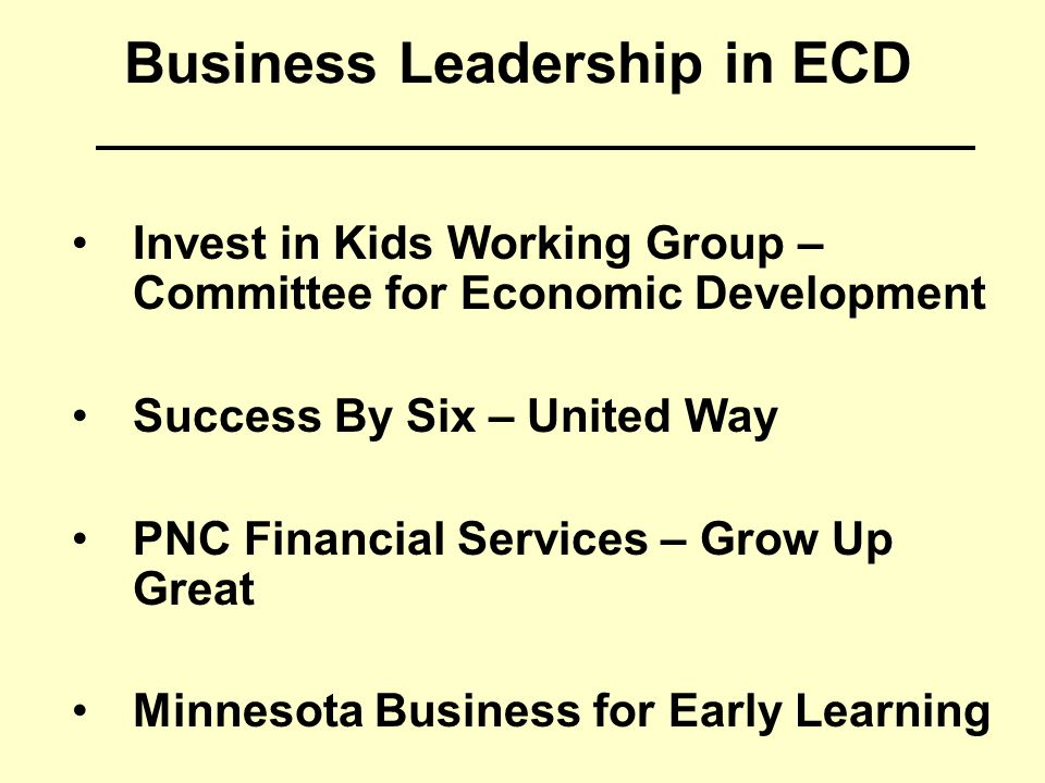 Business Leadership in ECD