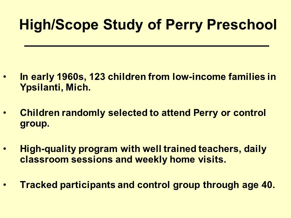 High/Scope Study of Perry Preschool