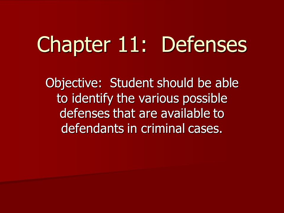 Chapter 11: Defenses