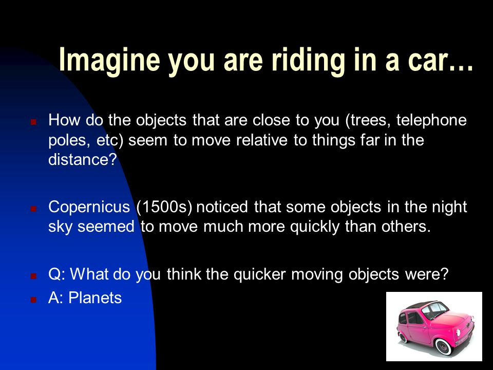Imagine you are riding in a car…