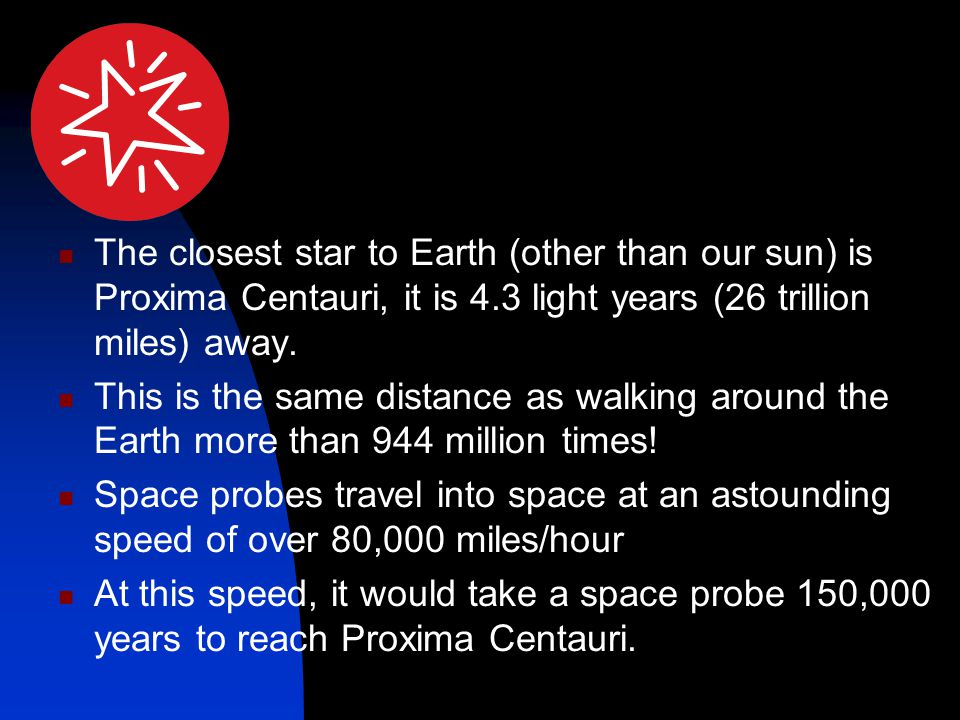 The closest star to Earth (other than our sun) is Proxima Centauri, it is 4.3 light years (26 trillion miles) away.