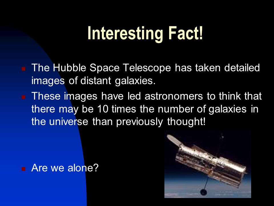 Interesting Fact! The Hubble Space Telescope has taken detailed images of distant galaxies.