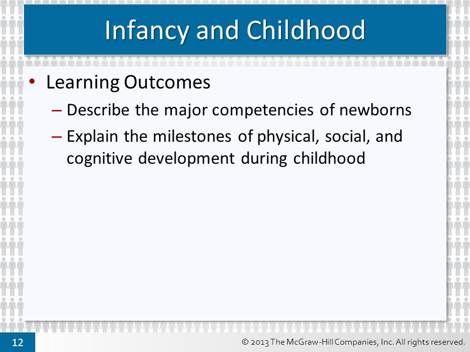 Infancy and Childhood Learning Outcomes