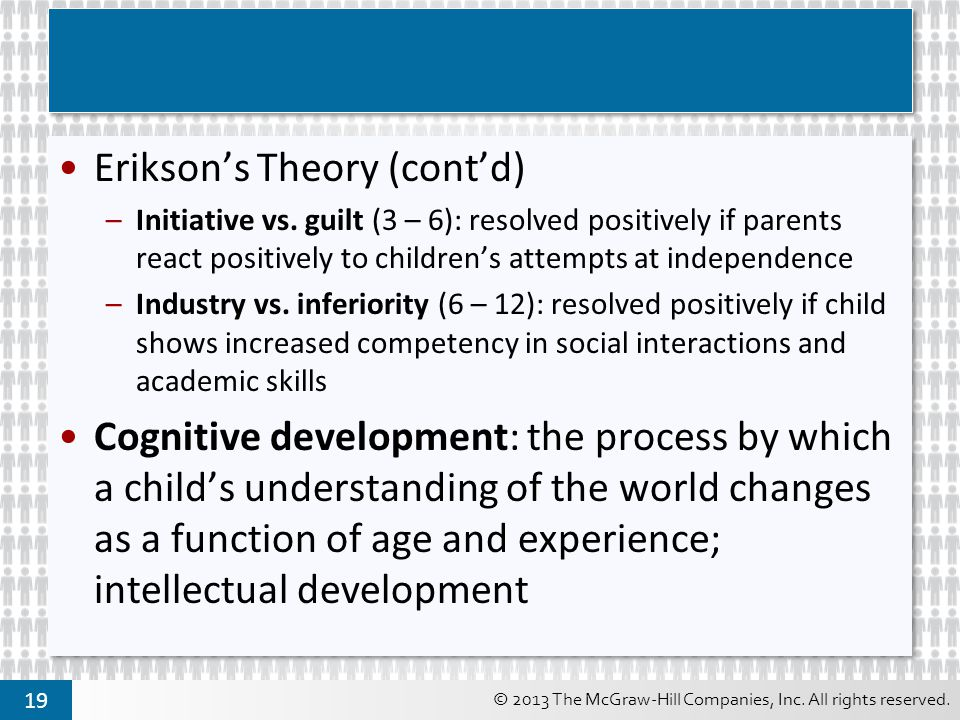 Erikson's Theory (cont'd)