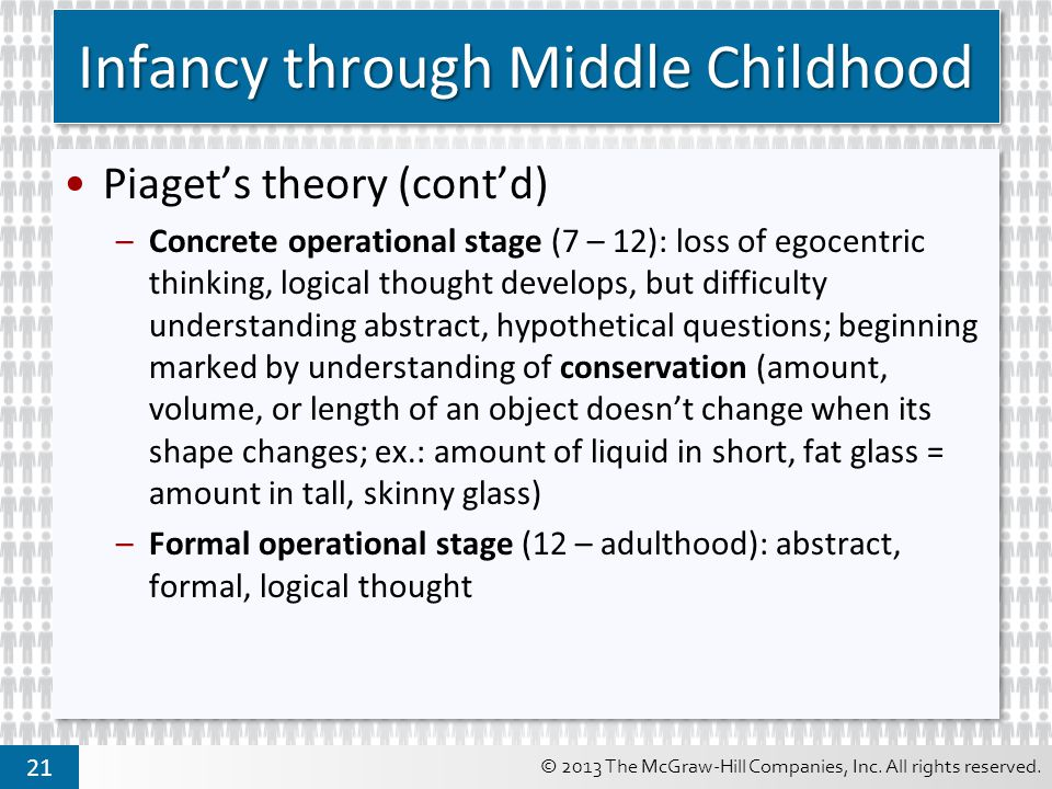 Infancy through Middle Childhood