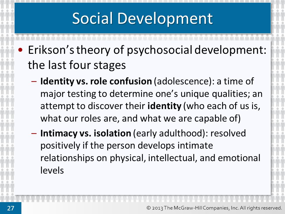Social Development Erikson's theory of psychosocial development: the last four stages.