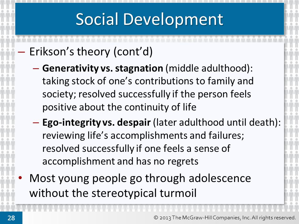 Social Development Erikson's theory (cont'd)