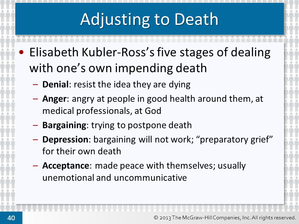 Adjusting to Death Elisabeth Kubler-Ross's five stages of dealing with one's own impending death. Denial: resist the idea they are dying.