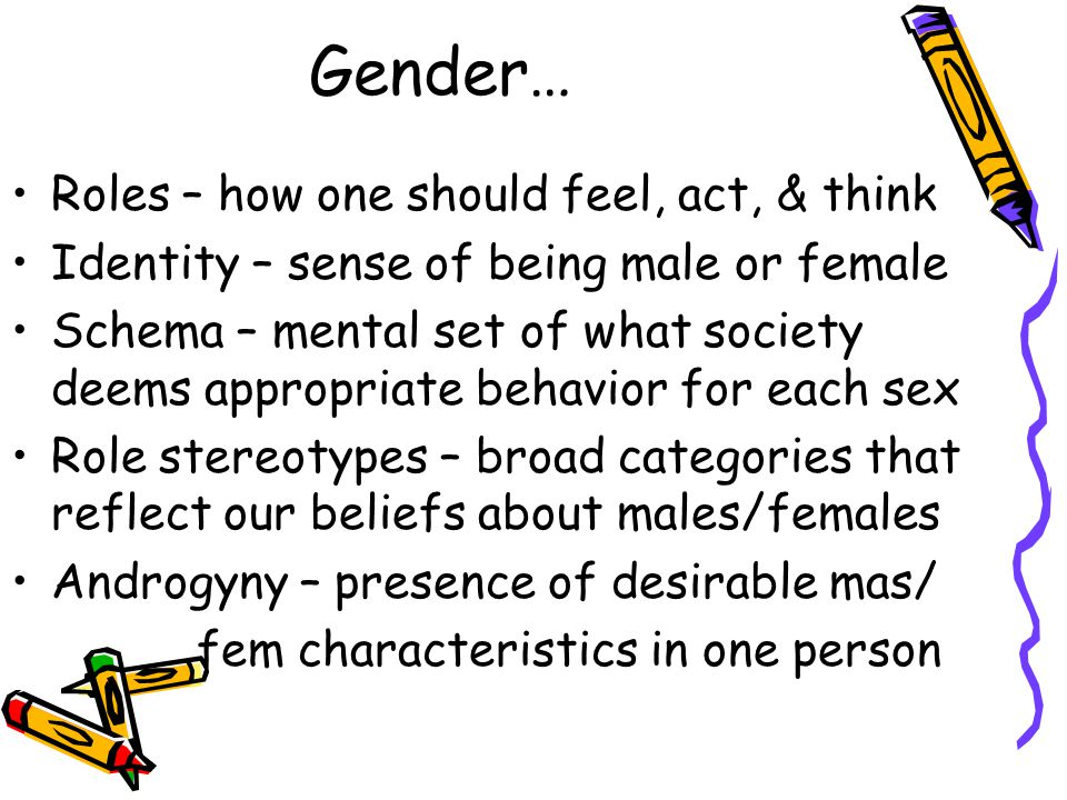 Gender… Roles – how one should feel, act, & think