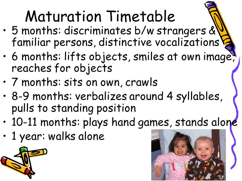 Maturation Timetable 5 months: discriminates b/w strangers & familiar persons, distinctive vocalizations.