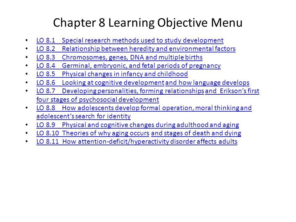 Chapter 8 Learning Objective Menu