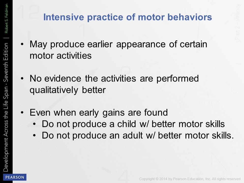 Intensive practice of motor behaviors