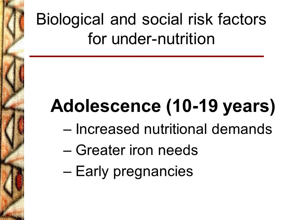 Biological and social risk factors for under-nutrition