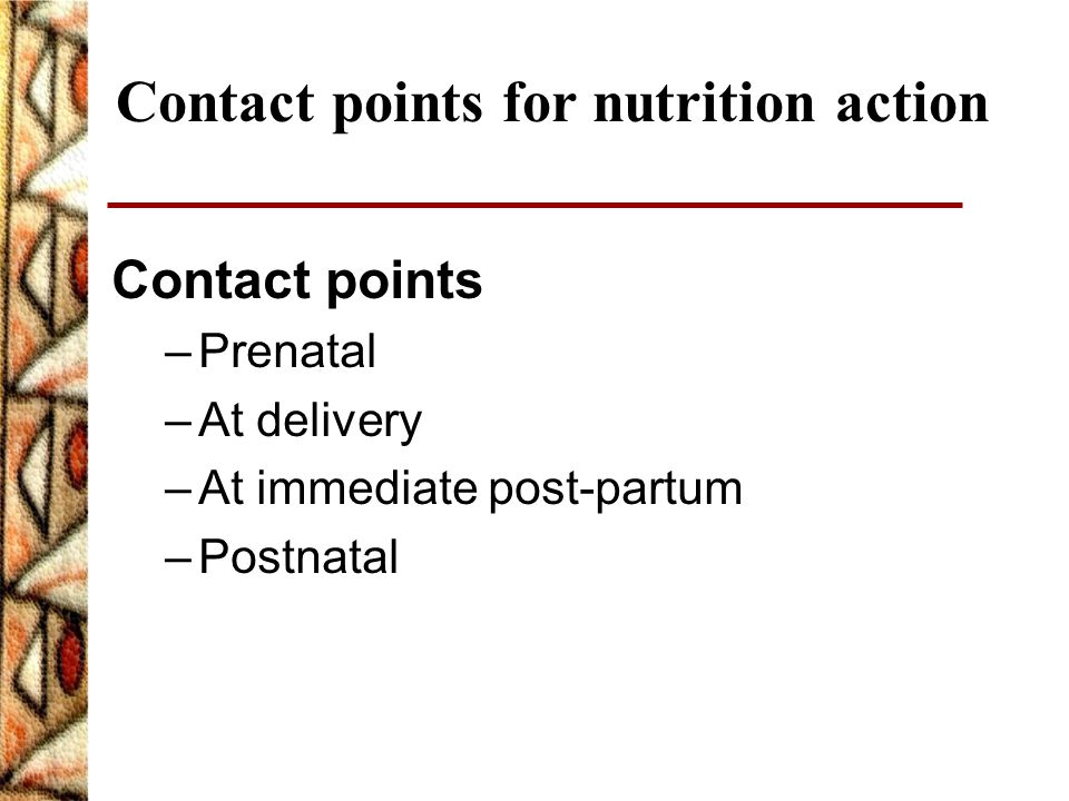 Contact points for nutrition action