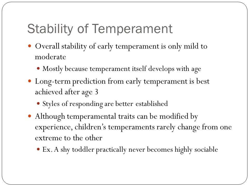 Stability of Temperament
