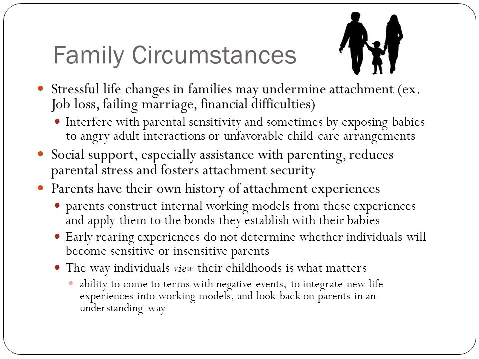 Family Circumstances Stressful life changes in families may undermine attachment (ex. Job loss, failing marriage, financial difficulties)