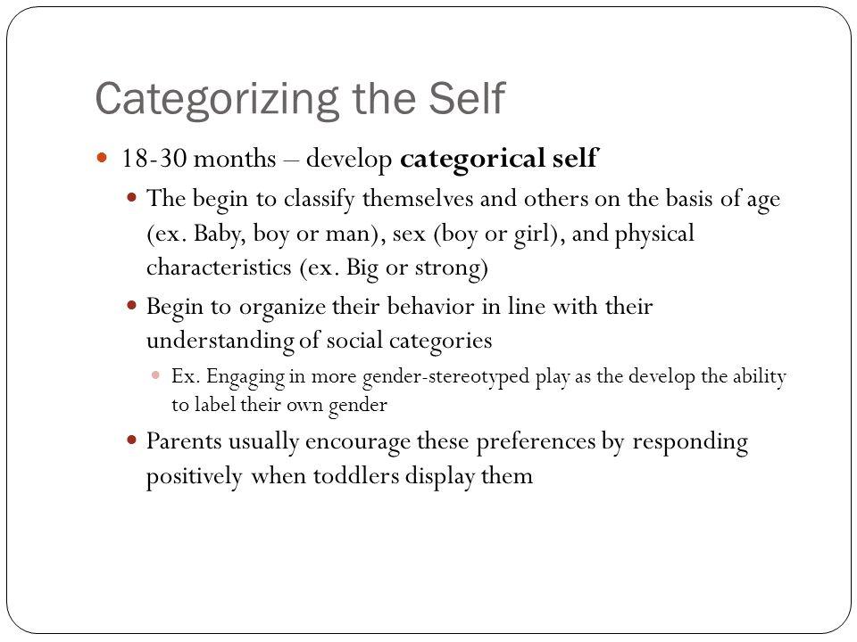 Categorizing the Self 18-30 months – develop categorical self