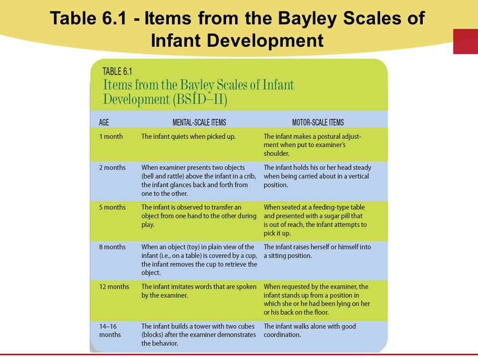 Table 6.1 - Items from the Bayley Scales of