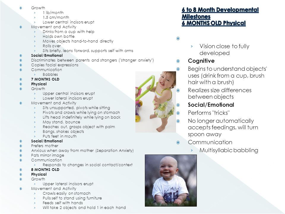 6 to 8 Month Developmental Milestones 6 MONTHS OLD Physical