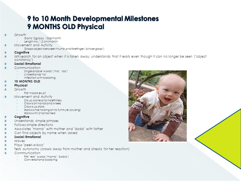 9 to 10 Month Developmental Milestones 9 MONTHS OLD Physical