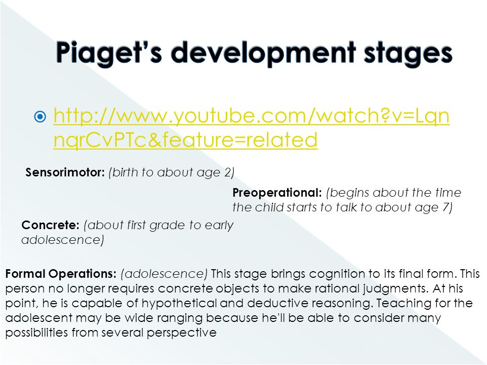 Piaget's development stages
