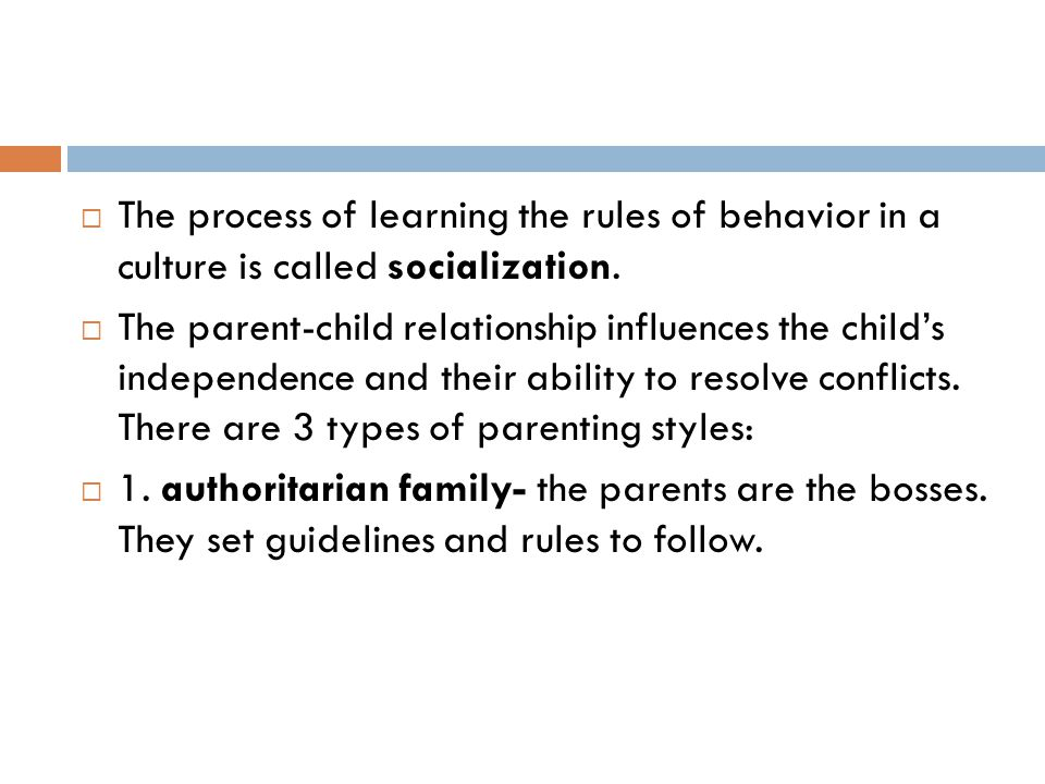 The process of learning the rules of behavior in a culture is called socialization.